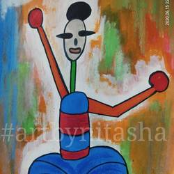 indian folk man #3, 6 x 8 inch, nitasha luthra,6x8inch,thick paper,paintings,abstract paintings,folk art paintings,modern art paintings,contemporary paintings,paintings for dining room,paintings for living room,paintings for bedroom,paintings for office,paintings for kids room,paintings for hotel,paintings for school,paintings for hospital,acrylic color,paper,GAL02210033896