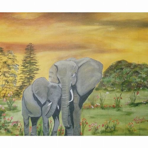 mother and baby elephant, 20 x 16 inch, subhash gijare,wildlife paintings,paintings for living room,elephant paintings,canvas,acrylic color,20x16inch,GAL0138339
