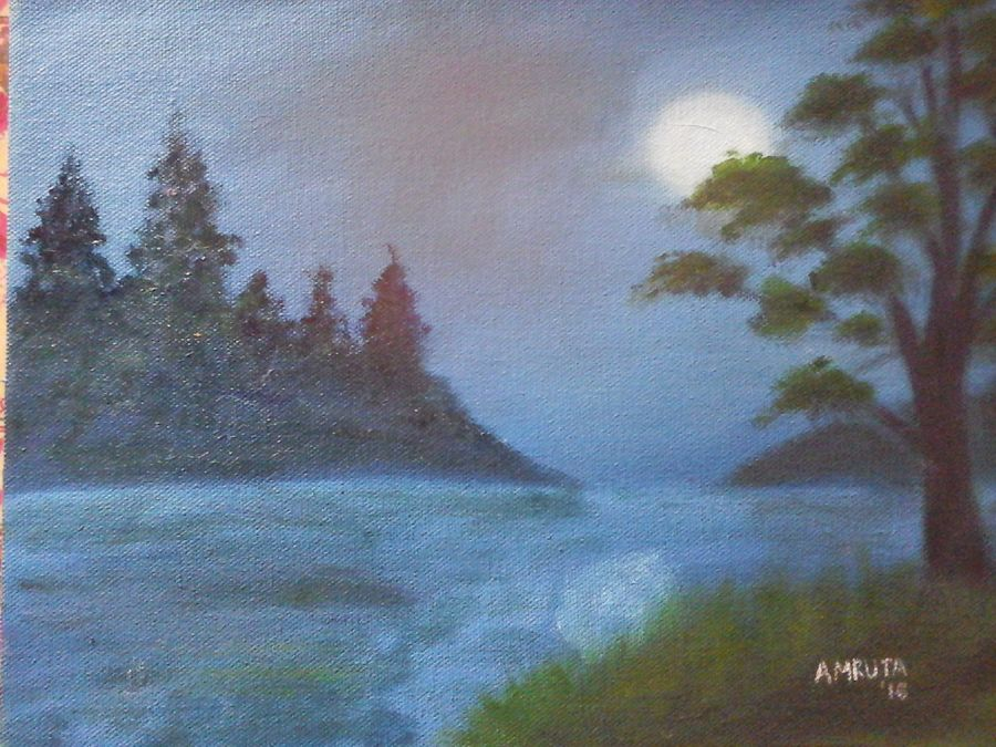 landscape canvas, 9 x 11 inch, amrutha darsi,paintings for living room,nature paintings,canvas,oil,9x11inch,GAL012663390Nature,environment,Beauty,scenery,greenery
