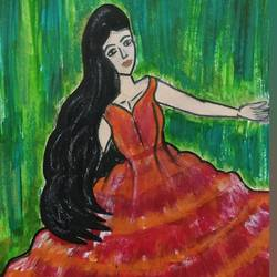 woman in red, 6 x 8 inch, nitasha luthra,6x8inch,thick paper,paintings,abstract paintings,modern art paintings,contemporary paintings,paintings for dining room,paintings for living room,paintings for bedroom,paintings for office,paintings for kids room,paintings for hotel,paintings for school,paintings for hospital,acrylic color,paper,GAL02210033900