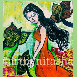 woman in garden, 6 x 8 inch, nitasha luthra,6x8inch,thick paper,paintings,abstract paintings,modern art paintings,contemporary paintings,paintings for dining room,paintings for living room,paintings for bedroom,paintings for office,paintings for kids room,paintings for hotel,paintings for school,paintings for hospital,acrylic color,paper,GAL02210033906