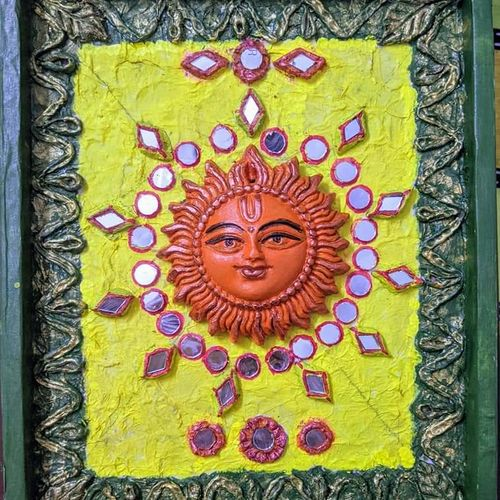 lippan art sun, 10 x 12 inch, aparna kaushik,10x12inch,hardboard,handicrafts,sculptures,wall hangings,religious statues,acrylic color,mixed media,GAL02205133913
