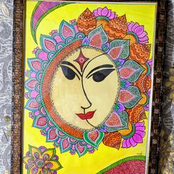 sun moon face, 12 x 16 inch, aparna kaushik,12x16inch,thick paper,paintings,conceptual paintings,religious paintings,paintings for dining room,paintings for living room,paintings for bedroom,paintings for office,paintings for kids room,paintings for hotel,acrylic color,paper,GAL02205133914