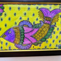 fish, 10 x 6 inch, aparna kaushik,10x6inch,thick paper,paintings,folk art paintings,madhubani paintings | madhubani art,paintings for dining room,paintings for living room,paintings for bedroom,paintings for office,paintings for kids room,paintings for hotel,paintings for dining room,paintings for living room,paintings for bedroom,paintings for office,paintings for kids room,paintings for hotel,acrylic color,paper,GAL02205133915