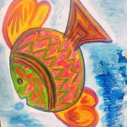 fish #1, 6 x 8 inch, nitasha luthra,6x8inch,thick paper,paintings,abstract paintings,modern art paintings,contemporary paintings,paintings for dining room,paintings for living room,paintings for bedroom,paintings for office,paintings for kids room,paintings for hotel,paintings for school,acrylic color,watercolor,paper,GAL02210033919