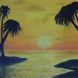 sunrise, 11 x 9 inch, amrutha darsi,landscape paintings,paintings for living room,canvas,oil paint,11x9inch,GAL012663392