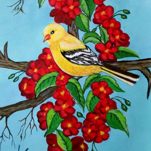 gold finch , 10 x 14 inch, lin taji,10x14inch,renaissance watercolor paper,paintings,wildlife paintings,flower paintings,landscape paintings,nature paintings   scenery paintings,acrylic color,paper,GAL02190033922