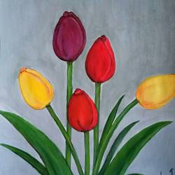 tulip bulbs , 10 x 14 inch, lin taji,10x14inch,renaissance watercolor paper,paintings,abstract paintings,flower paintings,modern art paintings,nature paintings | scenery paintings,art deco paintings,acrylic color,paper,GAL02190033923