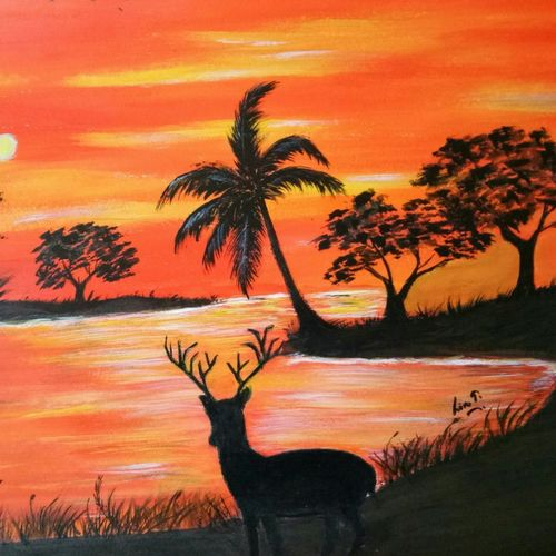 sunset deer, 16 x 12 inch, lin taji,16x12inch,renaissance watercolor paper,paintings,abstract paintings,wildlife paintings,landscape paintings,nature paintings | scenery paintings,acrylic color,paper,GAL02190033924