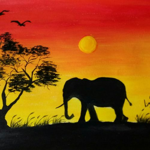 sunset elephant , 16 x 12 inch, lin taji,16x12inch,renaissance watercolor paper,paintings,abstract paintings,wildlife paintings,landscape paintings,nature paintings | scenery paintings,animal paintings,elephant paintings,acrylic color,paper,GAL02190033925
