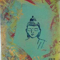 buddha, 11 x 9 inch, amrutha darsi,buddha paintings,paintings for living room,canvas board,acrylic color,11x9inch,religious,peace,meditation,meditating,gautam,goutam,buddha,green,face,GAL012663393