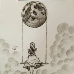 moon swing , 8 x 12 inch, lin taji,8x12inch,paper,drawings,abstract drawings,figurative drawings,fine art drawings,illustration drawings,charcoal,graphite pencil,paper,GAL02190033930