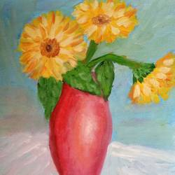 sunflowers in a vase, 10 x 12 inch, reema pereira,10x12inch,canvas,paintings,flower paintings,paintings for dining room,paintings for living room,paintings for bedroom,acrylic color,oil color,GAL02172033933