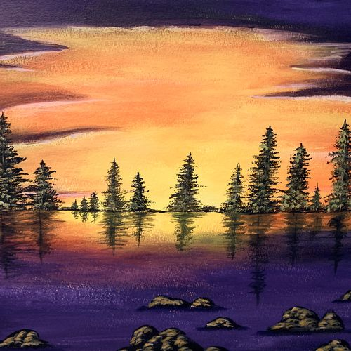 sunset lake , 17 x 12 inch, lin taji,17x12inch,paper,paintings,abstract paintings,landscape paintings,nature paintings   scenery paintings,illustration paintings,acrylic color,paper,GAL02190033934
