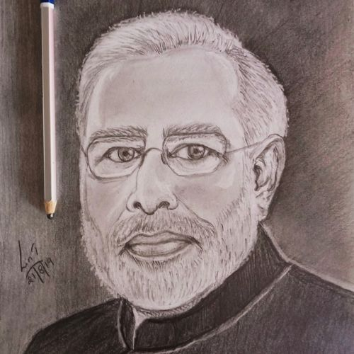 prime minister mr modi , 8 x 12 inch, lin taji,8x12inch,paper,drawings,figurative drawings,fine art drawings,photorealism drawings,portrait drawings,charcoal,graphite pencil,paper,GAL02190033935