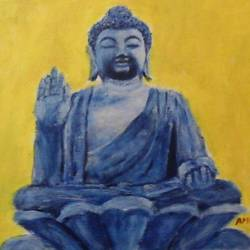 buddha, 11 x 9 inch, amrutha darsi,buddha paintings,paintings for living room,religious paintings,thick paper,acrylic color,11x9inch,religious,peace,meditation,meditating,gautam,goutam,buddha,blue,yellow,mudra,giving blessing,sitting,GAL012663394