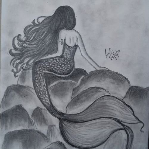 the mermaid , 8 x 12 inch, lin taji,8x12inch,paper,drawings,abstract drawings,figurative drawings,fine art drawings,illustration drawings,portrait drawings,charcoal,graphite pencil,paper,GAL02190033940