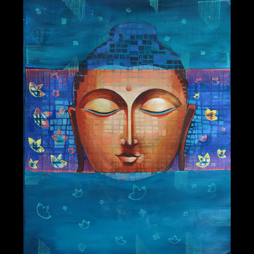 budhha, 30 x 24 inch, zalak  bheda,30x24inch,canvas,paintings,buddha paintings,paintings for dining room,paintings for living room,paintings for bedroom,paintings for office,paintings for kids room,paintings for hotel,acrylic color,GAL01672333955