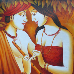 the divine radha krishna-01, 36 x 24 inch, shubham sheel gautam,36x24inch,canvas,paintings,religious paintings,expressionism paintings,radha krishna paintings,paintings for dining room,paintings for living room,paintings for bedroom,paintings for office,paintings for bathroom,paintings for hotel,paintings for kitchen,paintings for school,paintings for hospital,acrylic color,GAL02078833959