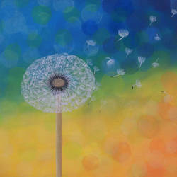 dandelion, 18 x 14 inch, neha nayak,18x14inch,canvas,paintings,flower paintings,acrylic color,GAL02207233962