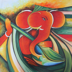 musical ganesha, 36 x 24 inch, shubham sheel gautam,36x24inch,canvas,paintings,religious paintings,ganesha paintings | lord ganesh paintings,paintings for dining room,paintings for living room,paintings for bedroom,paintings for office,paintings for bathroom,paintings for hotel,paintings for kitchen,paintings for school,paintings for hospital,acrylic color,GAL02078833964