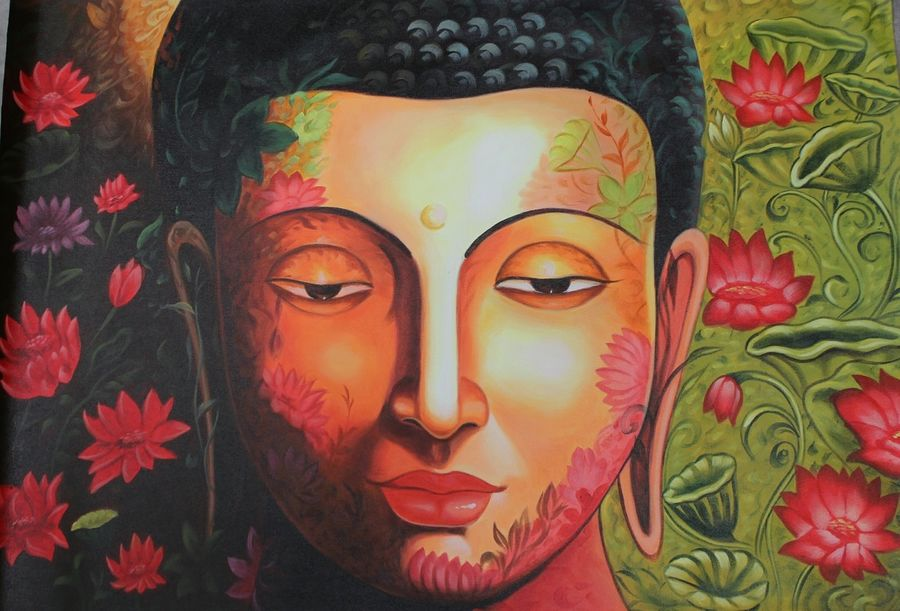 buddha with lotus, 36 x 24 inch, shubham sheel gautam,36x24inch,canvas,paintings,buddha paintings,religious paintings,paintings for dining room,paintings for living room,paintings for bedroom,paintings for office,paintings for kids room,paintings for hotel,paintings for kitchen,paintings for school,paintings for hospital,acrylic color,GAL02078833971