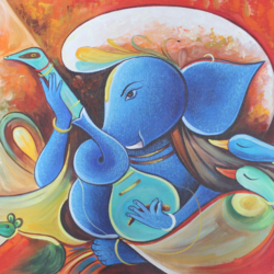 musical ganesha-01, 36 x 24 inch, shubham sheel gautam,36x24inch,canvas,paintings,religious paintings,ganesha paintings | lord ganesh paintings,paintings for dining room,paintings for living room,paintings for bedroom,paintings for office,paintings for hotel,paintings for kitchen,paintings for school,paintings for hospital,acrylic color,GAL02078833972