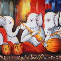 musical ganesha-02, 36 x 24 inch, shubham sheel gautam,36x24inch,canvas,paintings,religious paintings,ganesha paintings | lord ganesh paintings,paintings for dining room,paintings for living room,paintings for bedroom,paintings for office,paintings for bathroom,paintings for hotel,paintings for kitchen,paintings for school,paintings for hospital,acrylic color,GAL02078833973