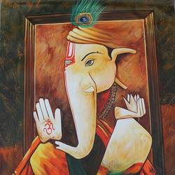 ganesha with mushak, 24 x 36 inch, shubham sheel gautam,24x36inch,canvas,paintings,religious paintings,ganesha paintings | lord ganesh paintings,paintings for dining room,paintings for living room,paintings for bedroom,paintings for office,paintings for bathroom,paintings for hotel,paintings for kitchen,paintings for school,paintings for hospital,acrylic color,GAL02078833985
