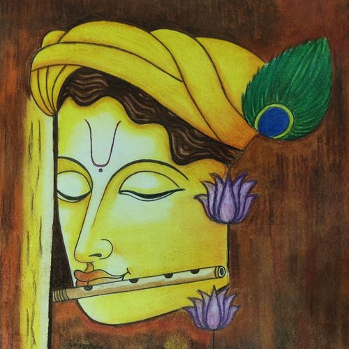 krishna painting, 12 x 16 inch, neha mittal,12x16inch,drawing paper,paintings,radha krishna paintings,pastel color,GAL02187433987