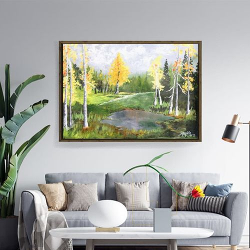 autumn birch trees landscape| oil painting |, 24 x 18 inch, k mohanish  rao,24x18inch,oil sheet,paintings,landscape paintings,nature paintings | scenery paintings,paintings for dining room,paintings for living room,oil color,GAL02214133989