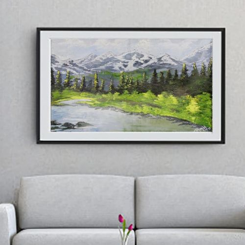 mountains and trees landscaping | oil painting, 24 x 18 inch, k mohanish  rao,24x18inch,oil sheet,paintings,landscape paintings,nature paintings | scenery paintings,paintings for dining room,paintings for living room,oil color,GAL02214133992