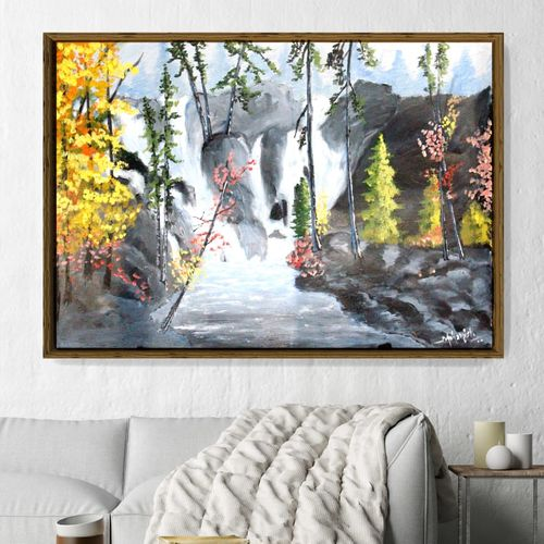 waterfall view in oils, 23 x 18 inch, k mohanish  rao,23x18inch,oil sheet,paintings,landscape paintings,nature paintings | scenery paintings,paintings for dining room,paintings for living room,paintings for bedroom,paintings for hotel,paintings for kitchen,paintings for school,paintings for hospital,oil color,GAL02214133996