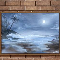 sea view under moonlight, 23 x 18 inch, k mohanish  rao,23x18inch,oil sheet,paintings,landscape paintings,nature paintings | scenery paintings,paintings for dining room,paintings for living room,paintings for bedroom,paintings for hotel,paintings for kitchen,paintings for hospital,oil color,GAL02214133998