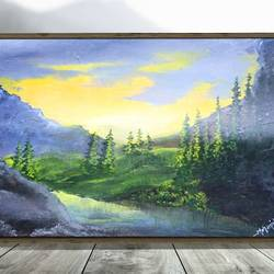 sunset view in oils, 23 x 18 inch, k mohanish  rao,23x18inch,oil sheet,paintings,landscape paintings,nature paintings | scenery paintings,paintings for dining room,paintings for living room,paintings for bedroom,paintings for kids room,paintings for hotel,paintings for kitchen,paintings for hospital,oil color,GAL02214133999