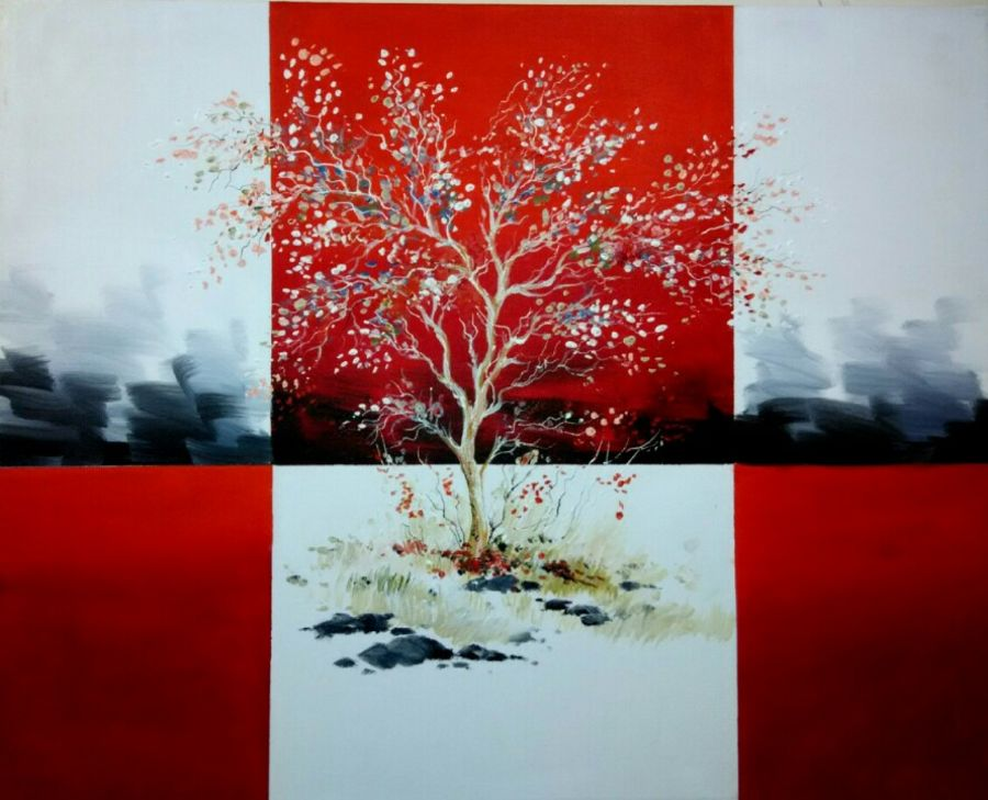 red tree, 24 x 30 inch, sushil  tarbar ,modern art paintings,paintings for living room,canvas,acrylic color,24x30inch,GAL0144340