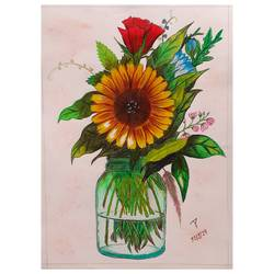 flowers vase, 8 x 11 inch, pardha saradhi,8x11inch,drawing paper,drawings,fine art drawings,illustration drawings,photorealism drawings,paintings for bedroom,pencil color,graphite pencil,paper,GAL02044234003