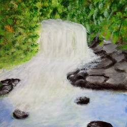 waterfall with trees in the backdrop, 10 x 12 inch, reema pereira,10x12inch,canvas,paintings,landscape paintings,nature paintings | scenery paintings,paintings for dining room,paintings for living room,paintings for bedroom,acrylic color,oil color,GAL02172034008