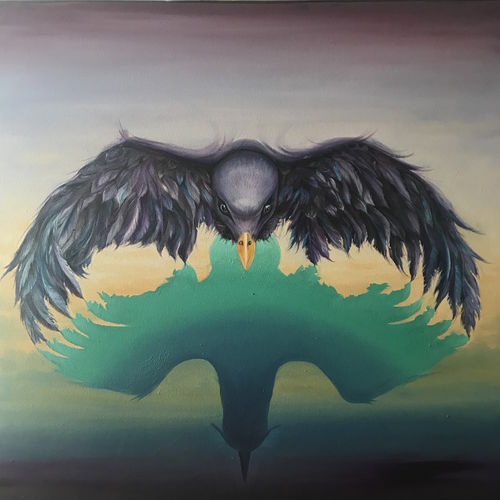 the ambitious eagle, 36 x 36 inch, shalini gupta,wildlife paintings,paintings for living room,canvas,oil,36x36inch,GAL012653401