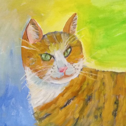 the brown cat in a contemplative mood, 11 x 8 inch, reema pereira,11x8inch,canvas,paintings,animal paintings,paintings for dining room,paintings for living room,paintings for bedroom,acrylic color,oil color,GAL02172034010