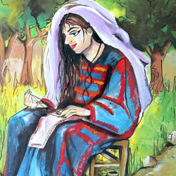mary, 80 x 40 inch, dana qino,80x40inch,canvas,paintings,religious paintings,paintings for office,acrylic color,GAL02212134018