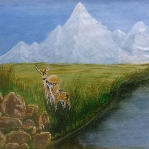 mother and baby spot deer by the lake and icy mountain view., 11 x 8 inch, vemula venkata rama rao,11x8inch,paper,wildlife paintings,landscape paintings,nature paintings | scenery paintings,paintings for dining room,paintings for living room,paintings for bedroom,paintings for office,paintings for kids room,paintings for dining room,paintings for living room,paintings for bedroom,paintings for office,paintings for kids room,acrylic color,GAL02192734026