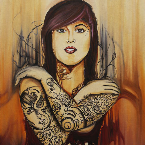 kat von d, 24 x 36 inch, shalini gupta,paintings for living room,paintings,abstract paintings,canvas,oil,24x36inch,GAL012653403