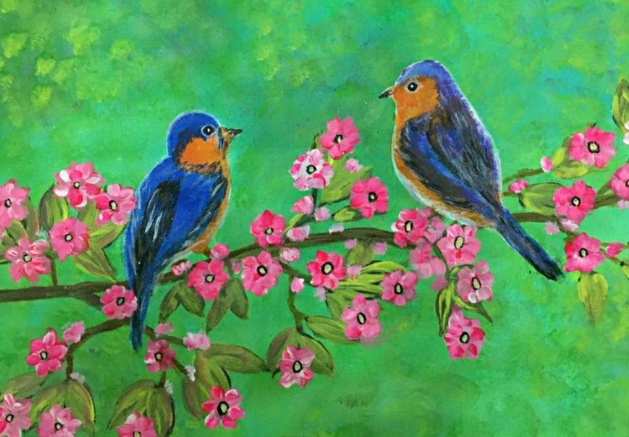 birds and flower, 20 x 15 inch, sujitha  sreeramula chengalrayan,20x15inch,canvas,paintings,flower paintings,nature paintings   scenery paintings,paintings for dining room,paintings for living room,paintings for bedroom,paintings for office,paintings for kids room,paintings for hotel,paintings for hospital,paintings for dining room,paintings for living room,paintings for bedroom,paintings for office,paintings for kids room,paintings for hotel,paintings for hospital,acrylic color,GAL02189834037