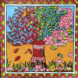 the cycles of life, 16 x 16 inch, akanksha sinha,16x16inch,canvas,paintings,flower paintings,folk art paintings,conceptual paintings,nature paintings | scenery paintings,madhubani paintings | madhubani art,paintings for dining room,paintings for living room,paintings for bedroom,paintings for office,paintings for bathroom,paintings for kids room,paintings for hotel,paintings for kitchen,paintings for school,paintings for hospital,acrylic color,pen color,GAL01104134039
