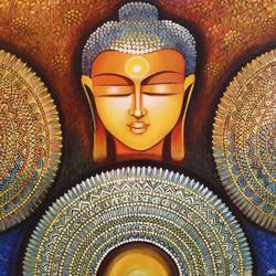 buddha - peace begins with acceptance, 30 x 30 inch, nitu chhajer,30x30inch,canvas,paintings,buddha paintings,paintings for dining room,paintings for living room,paintings for office,paintings for hotel,paintings for school,paintings for hospital,acrylic color,GAL058234041