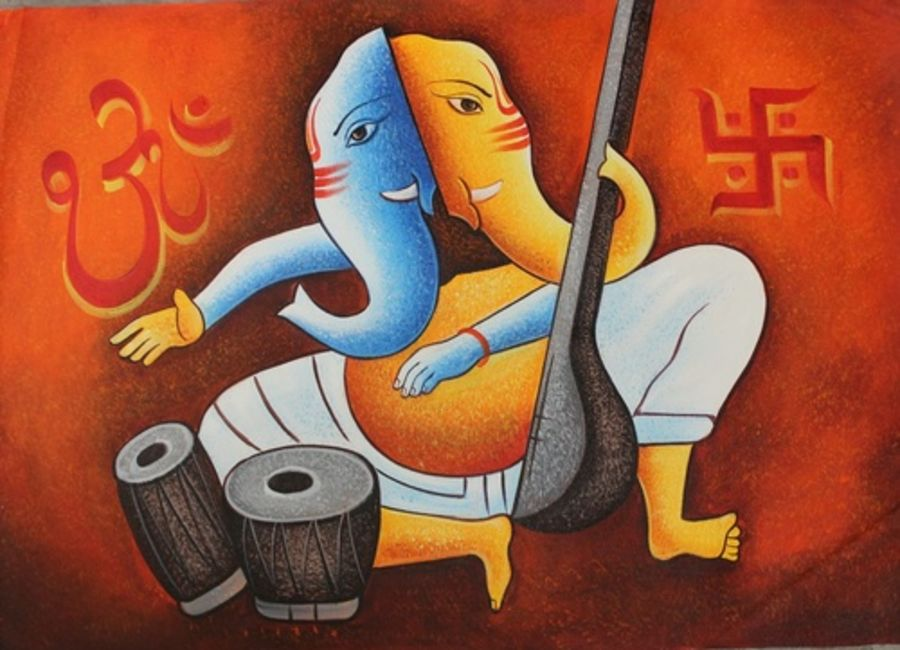two faced ganesha, 36 x 24 inch, shubham sheel gautam,36x24inch,canvas,paintings,religious paintings,ganesha paintings   lord ganesh paintings,paintings for dining room,paintings for living room,paintings for bedroom,paintings for office,paintings for kids room,paintings for hotel,paintings for kitchen,paintings for school,paintings for hospital,acrylic color,GAL02078834042