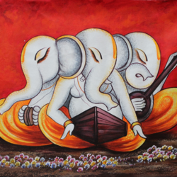 musical ganesha-04, 36 x 24 inch, shubham sheel gautam,36x24inch,canvas,paintings,religious paintings,ganesha paintings | lord ganesh paintings,paintings for dining room,paintings for living room,paintings for bedroom,paintings for office,paintings for bathroom,paintings for hotel,paintings for kitchen,paintings for school,paintings for hospital,acrylic color,GAL02078834048