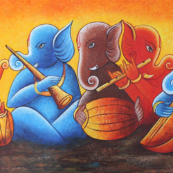 musical ganesha-05, 48 x 24 inch, shubham sheel gautam,48x24inch,canvas,paintings,religious paintings,ganesha paintings | lord ganesh paintings,paintings for dining room,paintings for living room,paintings for bedroom,paintings for office,paintings for bathroom,paintings for hotel,paintings for kitchen,paintings for school,paintings for hospital,acrylic color,GAL02078834049
