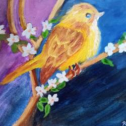 warbler on a tree branch, 12 x 10 inch, reema pereira,12x10inch,canvas,paintings,wildlife paintings,paintings for dining room,paintings for living room,paintings for bedroom,acrylic color,oil color,GAL02172034050